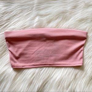 Basic Rib Bandeau Crop Top Size US 2 in Pink